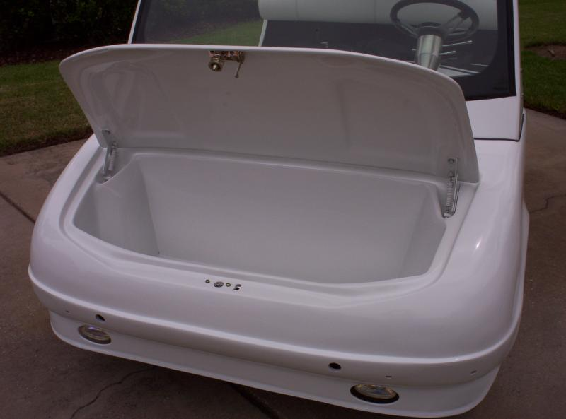 Front trunk storage area with inside hood release.